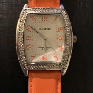 Dufonte by Lucien Piccard- Orange Crystal Watch